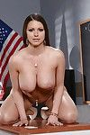 Breasty schoolgirl Brooklyn Chase removing leather short skirt while stripping