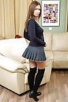 Well-stacked teeny cutie in knee socks undressing and toying her sherry space
