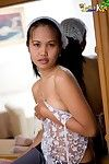 Asian teen fantasy Lily caresses her tiny budding breasts