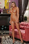 Big-tit golden-haired Samantha Saint is showing off her faultless legs