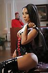 Strict Asian girl Asa Akira walks in her new extravagant BDSM outfit