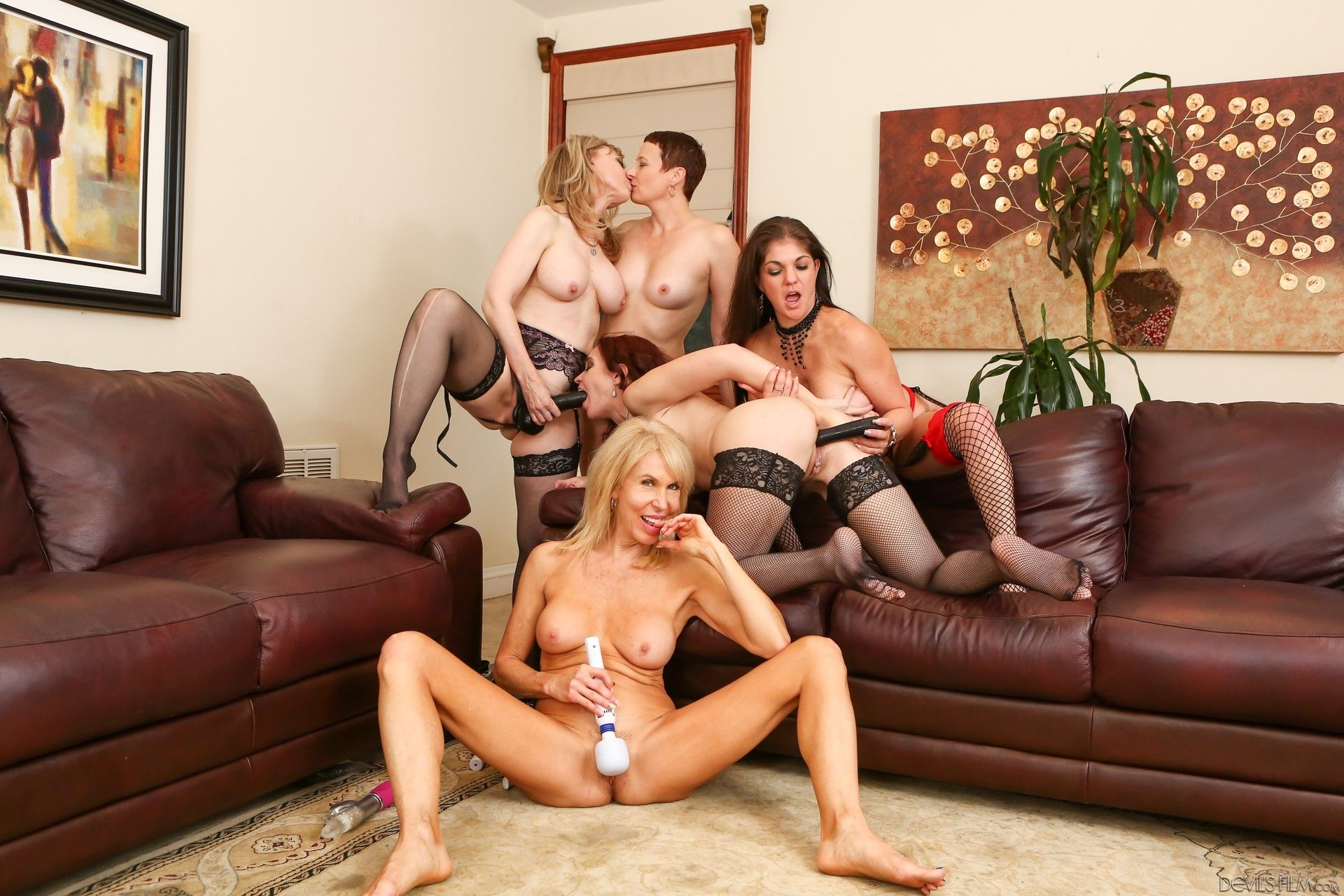 Group of milfs lesbian orgy something