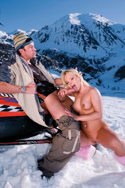 Anal banging threesome in the mountains with two pornstars