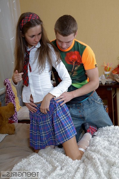 Mini schoolgirl attains ass drilled