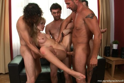 Hot little blond sasha rose gets fixed firmly up, blindfolded and surprised by multiple