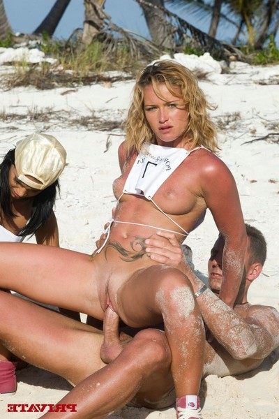 Four extreme sluts playing olympics the anal games on the beach