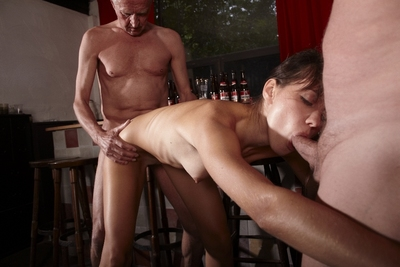 Herself AMAZINGLY beautiful! She has love making act with 3 old men like this babe is desperately hungry. She swallows them whole, they fuck her ANALLY, this babe drinks 3 different sperms. This movie is one of the best.