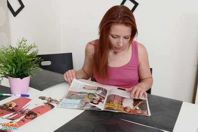 Sveta is a young and extreme woman, and is reading a magazine, as that babe waits for her older man. He is scheduled to arrive and that babe is in her favorite pink top.