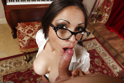 Infant floozy with gigantic titties and extreme glasses Marta La Croft is enjoying anal