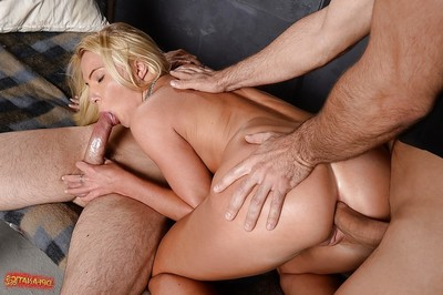European adolescent Anie Koks is delightful part in a groupsex threesome scene