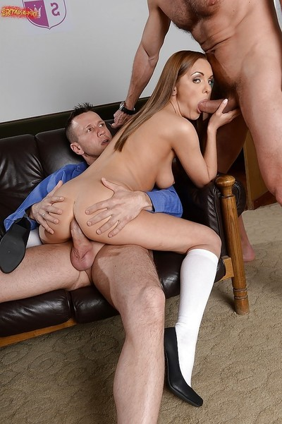 Barely legal schoolgirl Dominica Fox smoking 2 teachers at same time