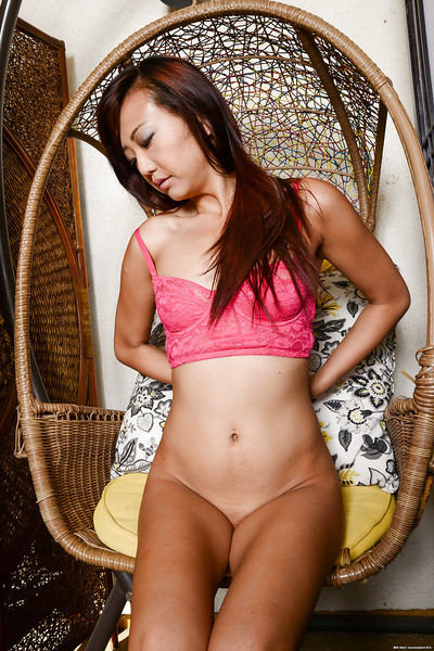 Amusing and charming Asian dear Miko swelling her holes