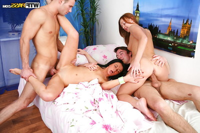 Swingers groupsex with charming youthful receiving cumshot on their faces
