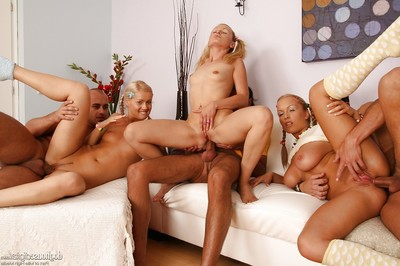 Lovely blond beauties with sticky fannies are admires hardcore groupsex