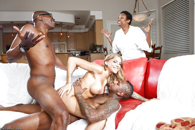 Tattooed vixen has some tough anal pleasure with 2 ebony shlongs