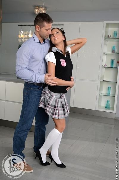 European schoolgirl Foxy Di enjoys a sweet slit lick in uniform