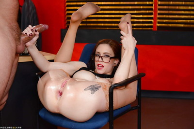Infant secretary Anna De Ville seduces mature fellow in petticoat and glasses