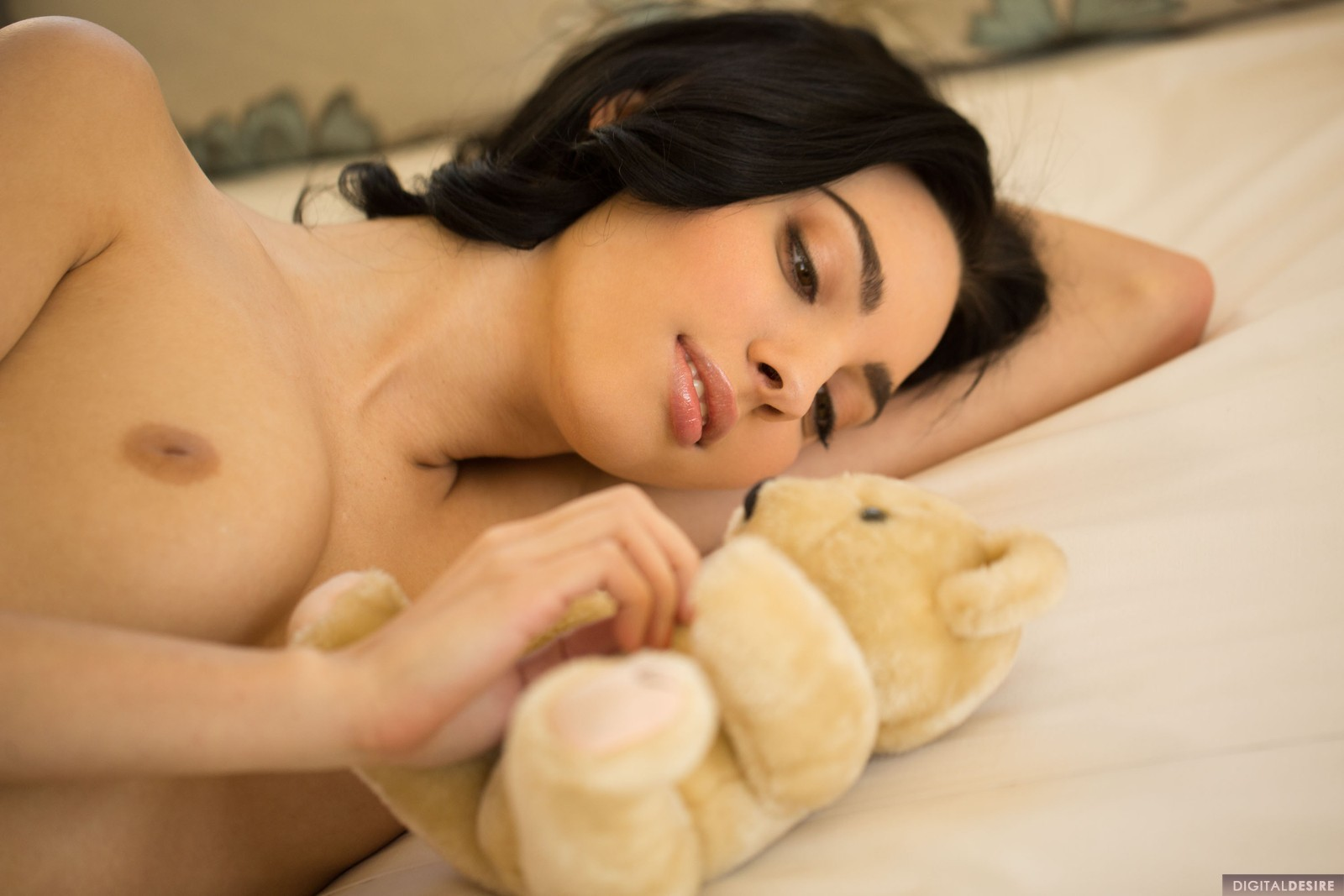 Wild araya acosta wearing none but nylons in daybed