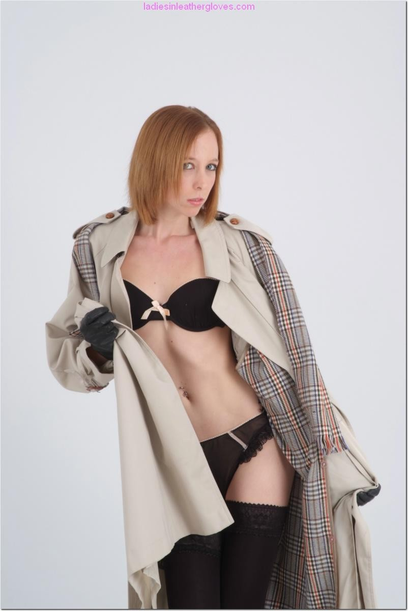 Hawt murky brown in leather gloves removes garments down to panties