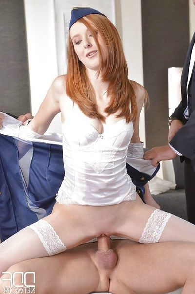 Redheaded cleaning woman Linda Sweet team-fucked and 2 anal fuck