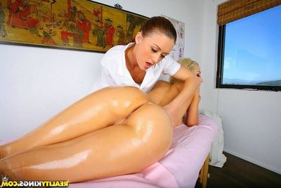Young unspecified oiled, massaged with the addition of analed in lesbian Male+Male+Female