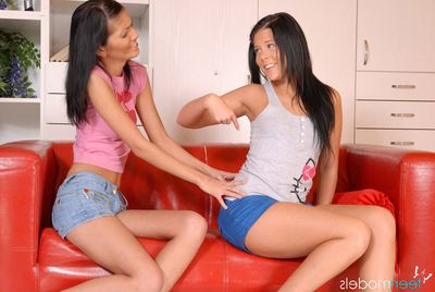 Sticky brunette gals bring a sinistral full of anal toys to the all together
