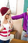 Amateur golden-haired Halle Von is swallowing her teacher\'s dick just for note