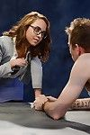 Petite nerdy redhead in glasses Roxanne Rae amplifies legs for gentile eating