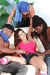 Amateur lollipop Ally Style obtains jizzed on in interracial group sex deed