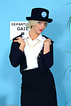 Hawt fairy-haired air hostess discloses her untamed sexy pants