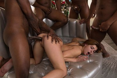 Leah gotti exploitatory fucked in their way first interracial gang bang