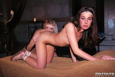 Lesbians alissa and liza share a cumshot in a hot trio