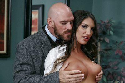 Bosomy schoolgirl pornstar Formality Ames taking teacher\'s huge blarney in the sky desk