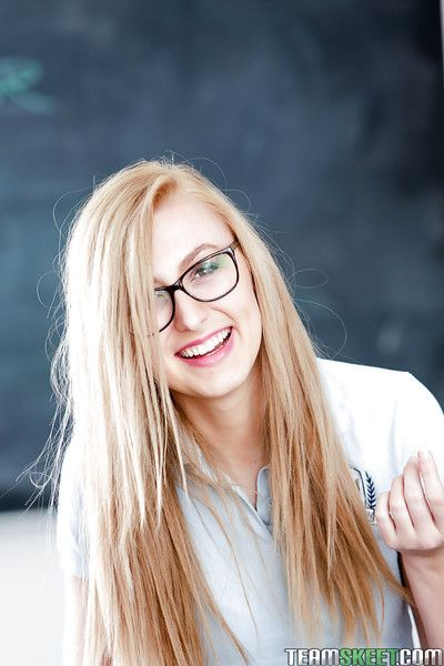 Young comme ci nerd nearby glasses Alexa Grace posing nearby schoolgirl unalterable