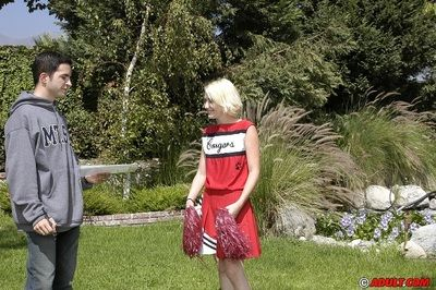 Nasty blonde cheerleader ablaze with say no to cooter to hand say no to audition