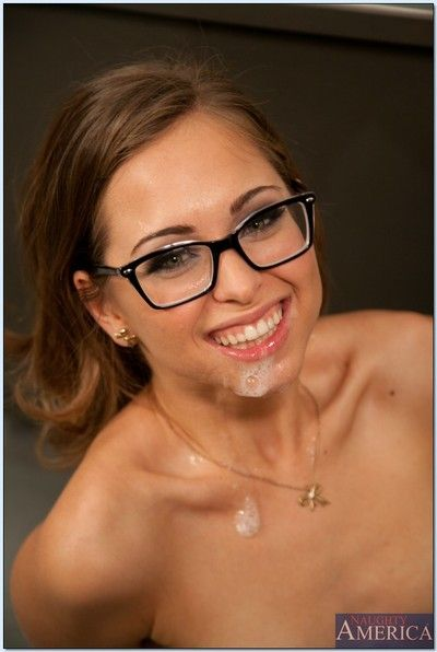 Naughty coed in glasses Riley Reid gets banged by horny cram