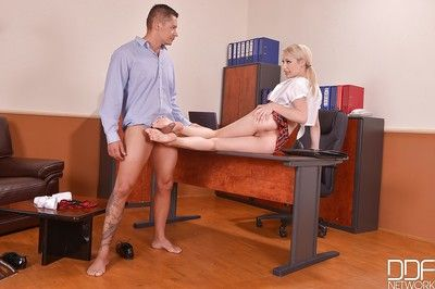 Young blond Euro schoolgirl Chessie Kay using barefeet upon jerk bus locate