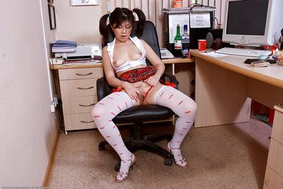 Asian amateur Aksana seductive red panties to one side for damage