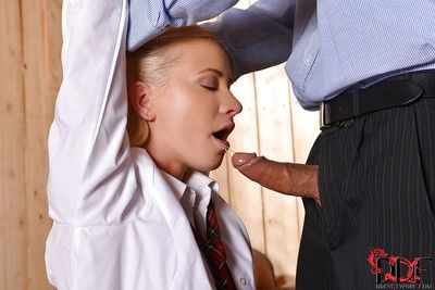 Submissive schoolgirl enjoys non nude BDSM making out and takes cum in her frowardness