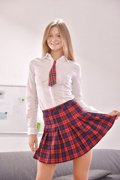 Teen schoolgirl Gay Tartlet shows off her ass everywhere socks and skirt
