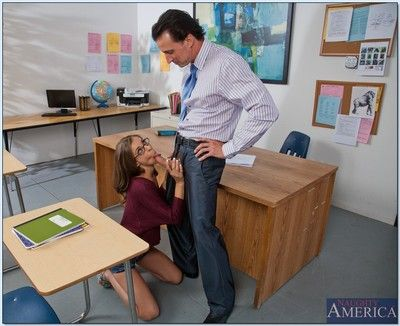 Naughty coed Presley Hart fucked by her teacher and got cum on glasses