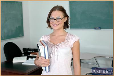 Adorable college unshaded in glasses Bebe Minx exposing Bristols coupled with fuck holes