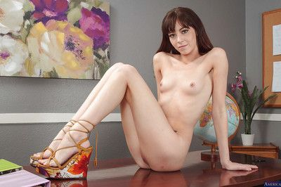 Coed brunette babe Hannah diffusion her skinny pussy with an increment of legs