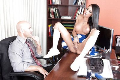 Office be captivated by featuring an superb cheerleader girl Raven Bay with an increment of her man