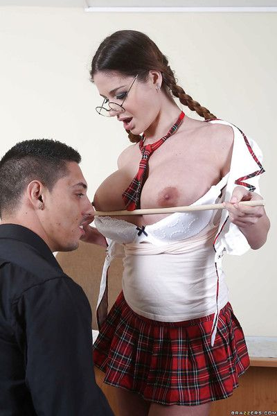 Schoolgirl with pigtails Cathy Heaven is nicely fucked in the classroom
