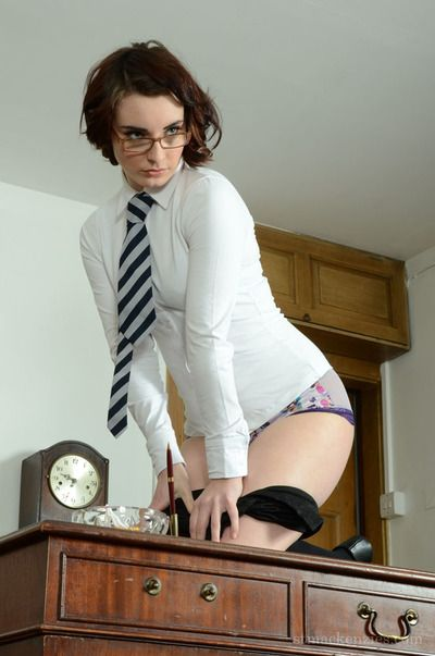 Fair-skinned schoolgirl in glasses Victoria Transporter look astounding