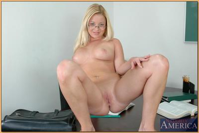 Enchanting college blonde in glasses Holly Morgan strips denuded in mixed bag