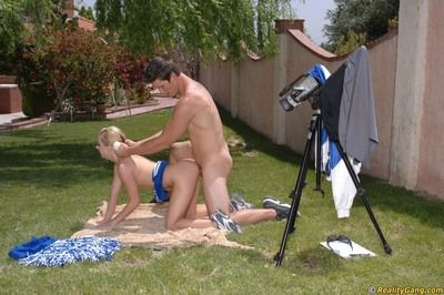 Slutty cheerleader Lexi Belle gives hound added to gets fucked outdoor