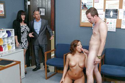 Naughty student Keisha Grey sucking cock and cum in teacher\'s date