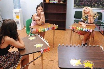 Busty college sluts Tasha Reign and Breanne Benson pleasuring cock